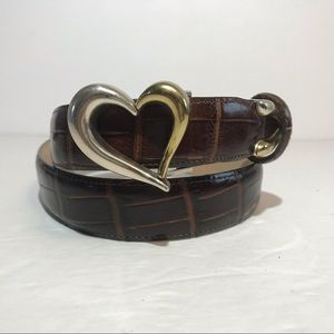 Talbots Leather Belt Small Brown Two Tone Buckle